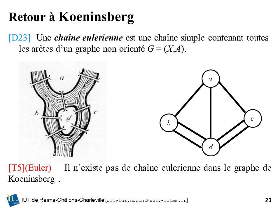 Retour à Koeninsberg [D23] Une chaîne eulerienne est une chaîne simple contenant toutes les arêtes d'un graphe non orienté G = (X,A).
